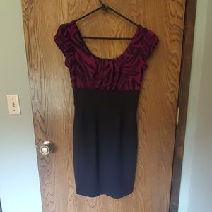 Womens business/work dress purple and black zebra